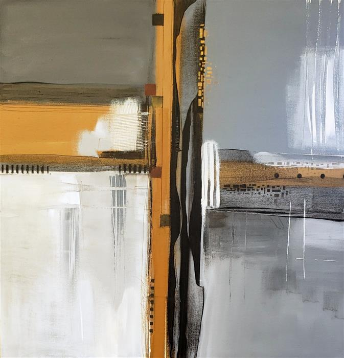 Original art for sale at UGallery.com | Gray Times by Nicholas Foschi | $1,050 | mixed media artwork | 24' h x 24' w | ..\art\mixed-media-artwork-Gray-Times