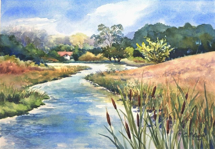 Original art for sale at UGallery.com | Upstream by Catherine McCargar | $775 | watercolor painting | 14' h x 20' w | ..\art\watercolor-painting-Upstream