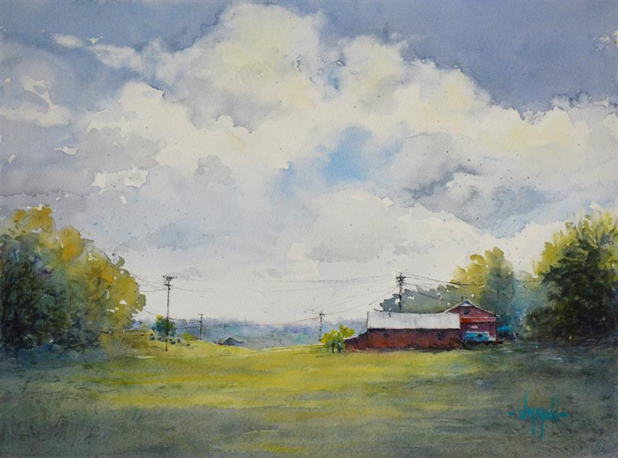 Original art for sale at UGallery.com | Loretto Afternoon by Judy Mudd | $775 | watercolor painting | 11' h x 15' w | ..\art\watercolor-painting-Loretto-Afternoon
