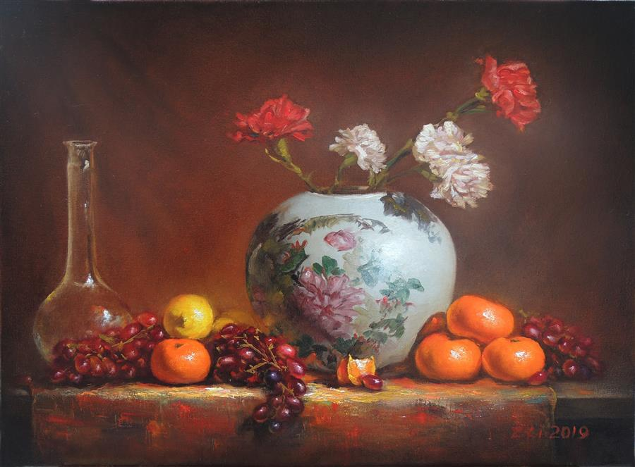 Original art for sale at UGallery.com | Carnations in a Painted Pot with Fruits by Zhi Li | $1,700 | oil painting | 18' h x 24' w | ..\art\oil-painting-Carnations-in-a-Painted-Pot-with-Fruits