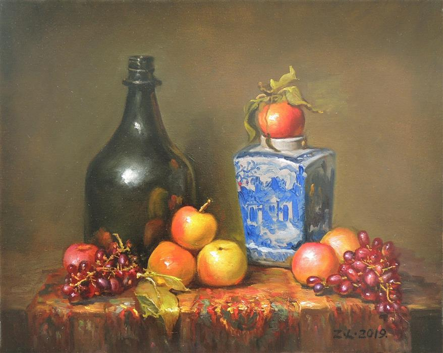 Original art for sale at UGallery.com | Blue White Vase, Apples and Grapes by Zhi Li | $1,300 | oil painting | 16' h x 20' w | ..\art\oil-painting-Blue-White-Vase-Apples-and-Grapes
