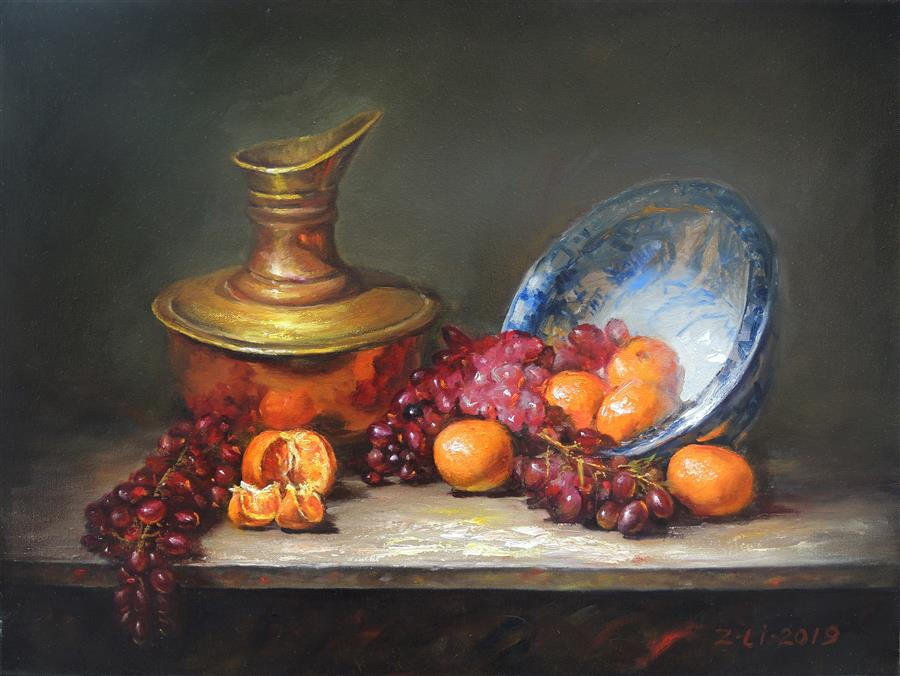 Original art for sale at UGallery.com | Blue and White Bowl, Copper Pot and Fruit by Zhi Li | $1,700 | oil painting | 18' h x 24' w | ..\art\oil-painting-Blue-and-White-Bowl-Copper-Pot-and-Fruit