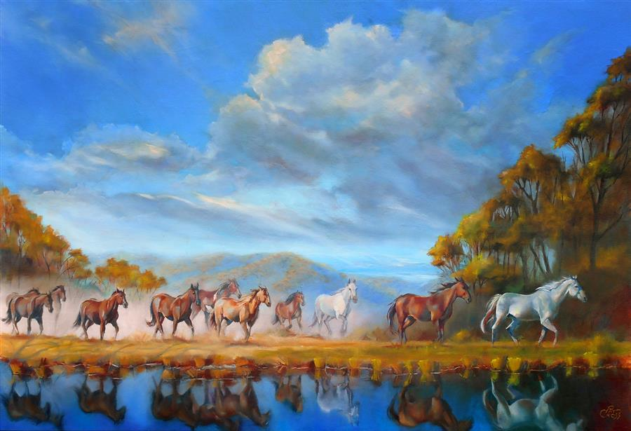 Original art for sale at UGallery.com | On to Greener Pastures by Pat Cross | $2,350 | oil painting | 24' h x 36' w | ..\art\oil-painting-On-to-Greener-Pastures
