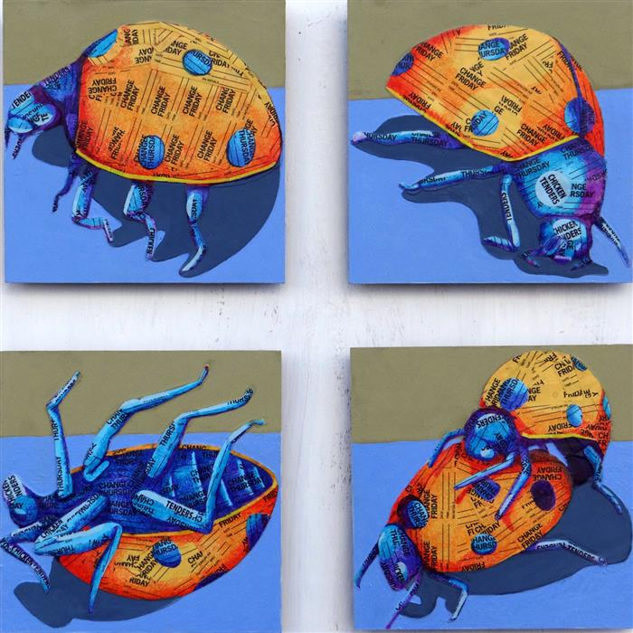 Original art for sale at UGallery.com | Lady Bug Life by Ruth Santee | $1,700 | mixed media artwork | 18' h x 18' w | ..\art\mixed-media-artwork-Lady-Bug-Life