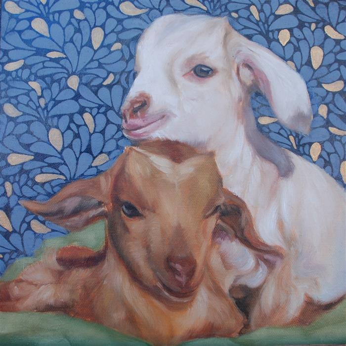 Original art for sale at UGallery.com   Baby Goats by Dana Aldis   $275   oil painting   10' h x 10' w   ..\art\oil-painting-Baby-Goats