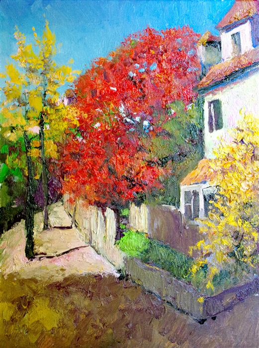 Original art for sale at UGallery.com | Fall in Virginia, Landscape with Red Tree by Suren Nersisyan | $400 | oil painting | 16' h x 12' w | ..\art\oil-painting-Fall-in-Virginia-Landscape-with-Red-Tree