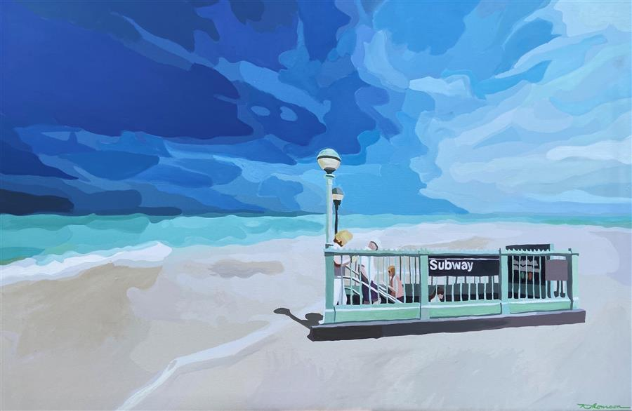 Original art for sale at UGallery.com | Beach St. Station by Keith Thomson | $1,200 | mixed media artwork | 24' h x 36' w | ..\art\mixed-media-artwork-Beach-St-Station