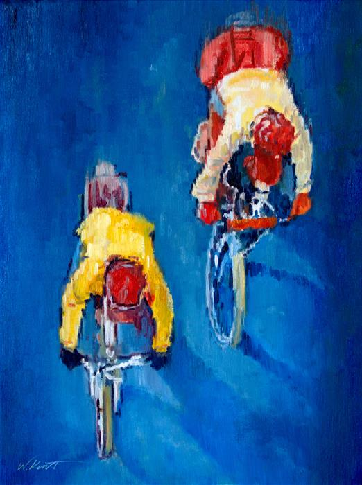 Original art for sale at UGallery.com | Early Morning Ride by Warren Keating | $1,700 | oil painting | 24' h x 18' w | ..\art\oil-painting-Early-Morning-Ride
