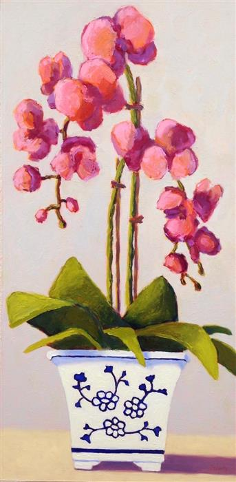 Original art for sale at UGallery.com | Coral Orchid by Pat Doherty | $850 | oil painting | 24' h x 12' w | ..\art\oil-painting-Coral-Orchid