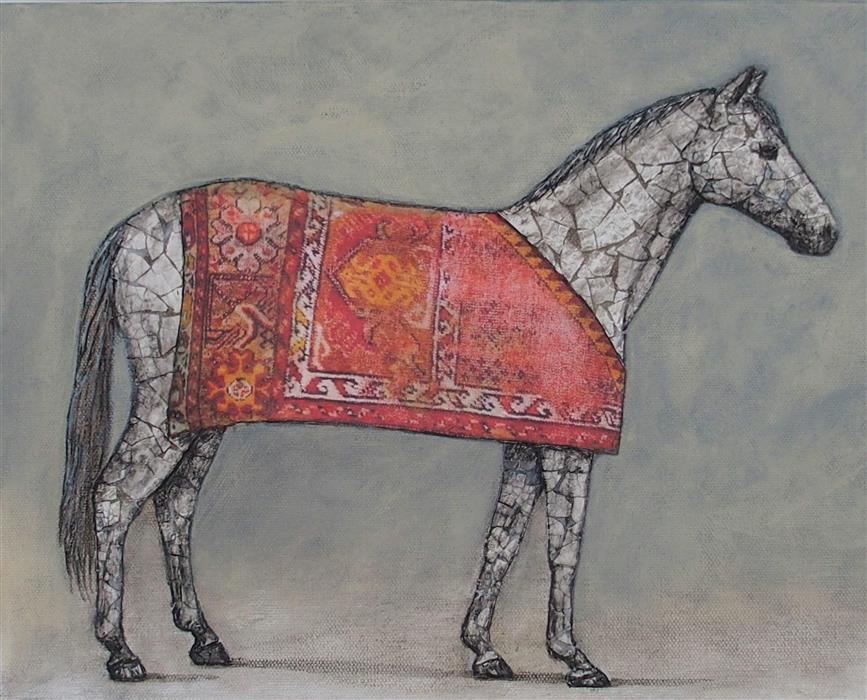 Original art for sale at UGallery.com | The Clothes Horse by Jennifer Ross | $500 | mixed media artwork | 11' h x 14' w | ..\art\mixed-media-artwork-The-Clothes-Horse