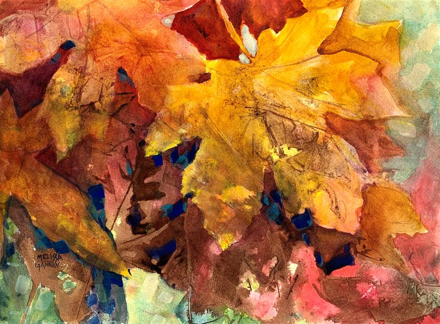 Original art for sale at UGallery.com | Magic & Leaves by Melissa Gannon | $325 | mixed media artwork | 11' h x 15' w | ..\art\mixed-media-artwork-Magic-Leaves