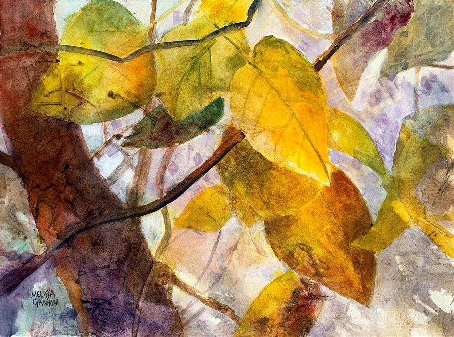 Original art for sale at UGallery.com | Dancing with Yellows by Melissa Gannon | $325 | mixed media artwork | 11' h x 15' w | ..\art\mixed-media-artwork-Dancing-with-Yellows