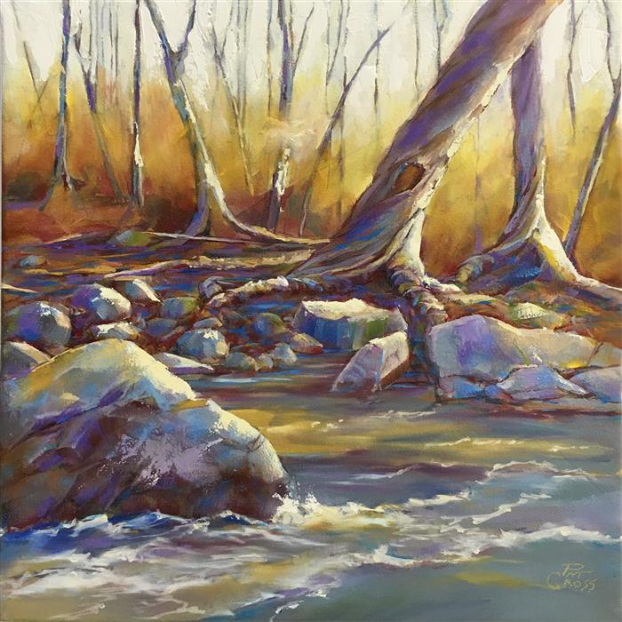 Original art for sale at UGallery.com | Along the River Bank by Pat Cross | $500 | oil painting | 10' h x 10' w | ..\art\oil-painting-Along-the-River-Bank