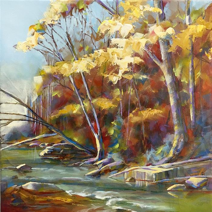 Original art for sale at UGallery.com | Autumn on the Riverbank by Pat Cross | $500 | oil painting | 10' h x 10' w | ..\art\oil-painting-Autumn-on-the-Riverbank