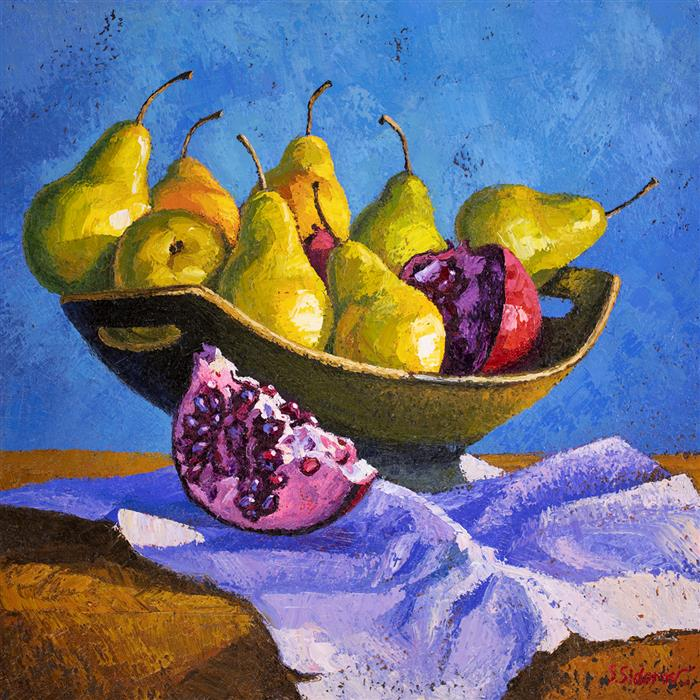 Original art for sale at UGallery.com | Still Life with Fruits by Stanislav Sidorov | $1,450 | oil painting | 20' h x 20' w | ..\art\oil-painting-Still-Life-with-Fruits
