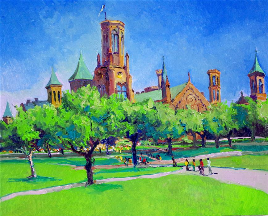 Original art for sale at UGallery.com | Smithsonian Castle in Washington DC, Noon by Suren Nersisyan | $850 | oil painting | 24' h x 30' w | ..\art\oil-painting-Smithsonian-Castle-in-Washington-DC-Noon