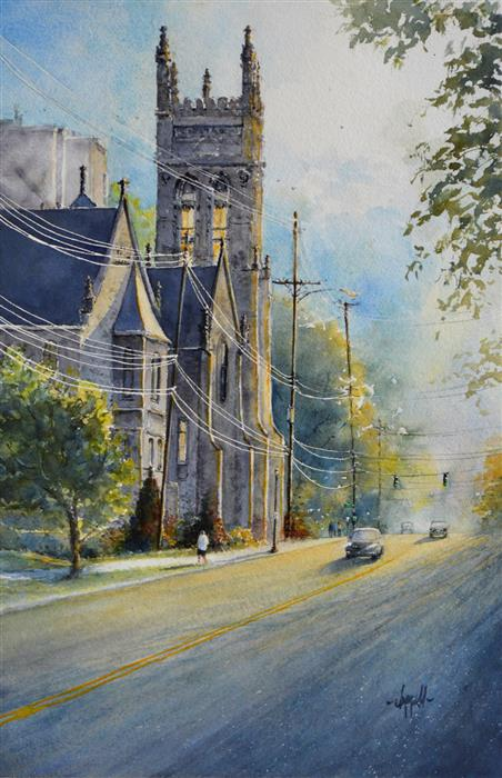 Original art for sale at UGallery.com | The Light by Judy Mudd | $1,200 | watercolor painting | 22.5' h x 15' w | ..\art\watercolor-painting-The-Light