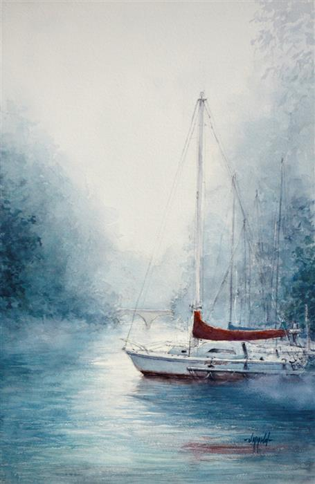 Original art for sale at UGallery.com | Fog on Harrods Creek by Judy Mudd | $1,200 | watercolor painting | 22.5' h x 15' w | ..\art\watercolor-painting-Fog-on-Harrods-Creek