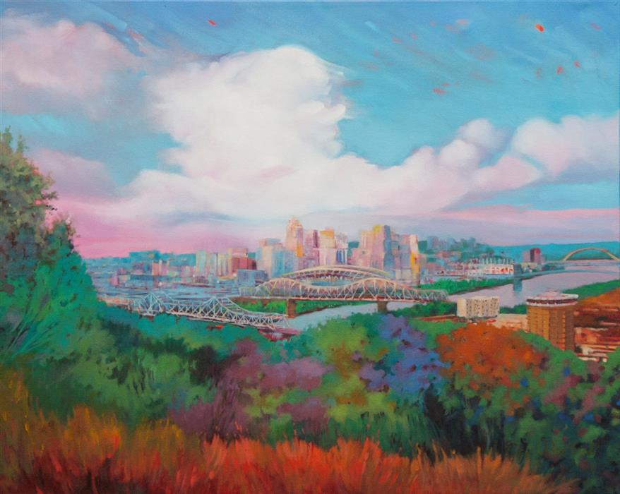 Original art for sale at UGallery.com | Queen City Evening by David Forsthoefel | $1,975 | oil painting | 24' h x 30' w | ..\art\oil-painting-Queen-City-Evening