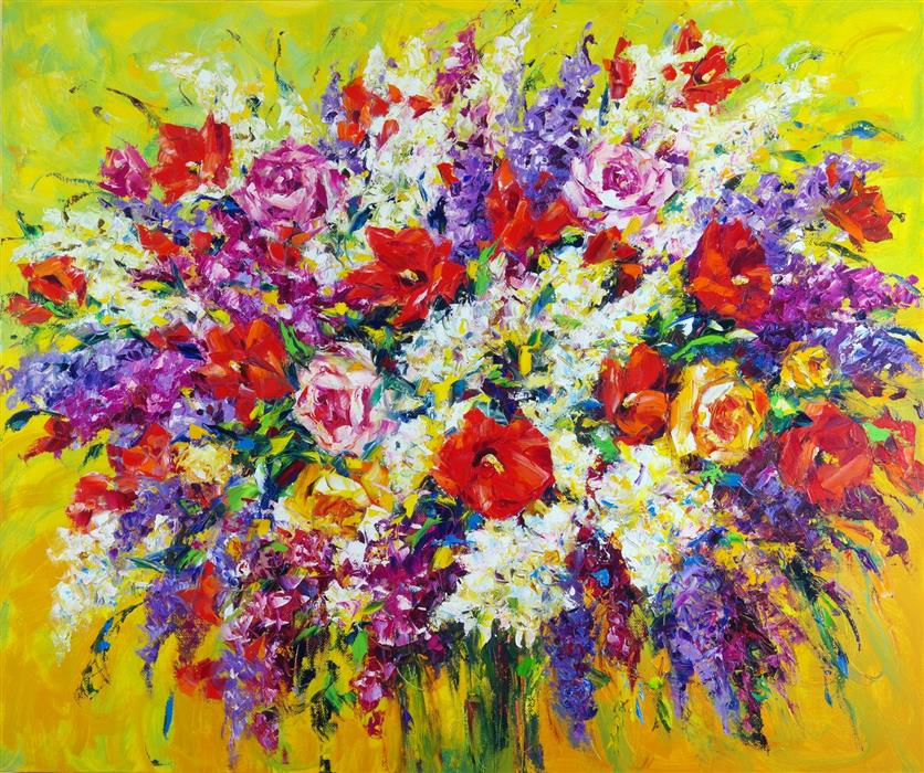 Original art for sale at UGallery.com | Summer Bouquet by Iryna Kastsova | $2,000 | oil painting | 39' h x 47' w | ..\art\oil-painting-Summer-Bouquet