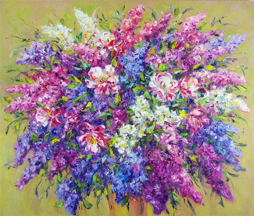 Original art for sale at UGallery.com | Flower Mood by Iryna Kastsova | $2,000 | oil painting | 39' h x 47' w | ..\art\oil-painting-Flower-Mood