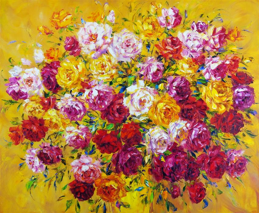 Original art for sale at UGallery.com | Large Bouquet of Roses by Iryna Kastsova | $2,000 | oil painting | 39' h x 47' w | ..\art\oil-painting-Large-Bouquet-of-Roses