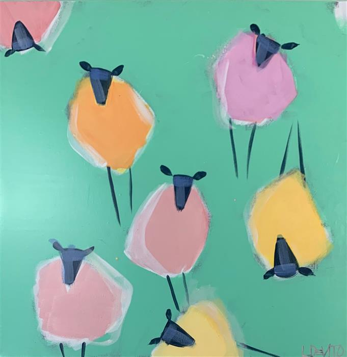 Original art for sale at UGallery.com | Baa-Hama-Babies by Lesli DeVito | $800 | acrylic painting | 20' h x 20' w | ..\art\acrylic-painting-Baa-Hama-Babies