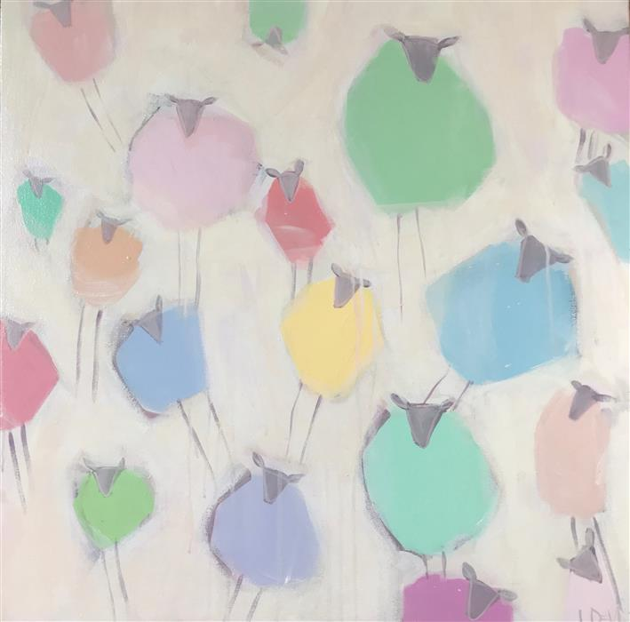 Original art for sale at UGallery.com | Mutton Mutton Whose Got the Mutton by Lesli DeVito | $1,000 | acrylic painting | 24' h x 24' w | ..\art\acrylic-painting-Mutton-Mutton-Whose-Got-the-Mutton