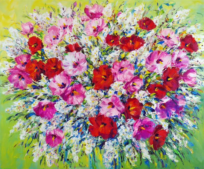 Original art for sale at UGallery.com | Festive Bouquet by Iryna Kastsova | $2,600 | oil painting | 39' h x 47' w | ..\art\oil-painting-Festive-Bouquet