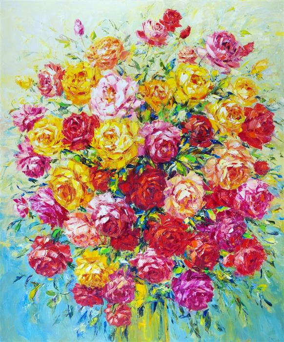 Original art for sale at UGallery.com | Roses by Iryna Kastsova | $2,600 | oil painting | 47' h x 39' w | ..\art\oil-painting-Roses-66415