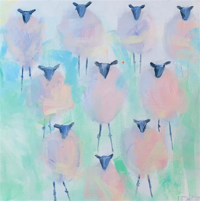 Original art for sale at UGallery.com | Ten Sheeps to the Wind by Lesli DeVito | $800 | acrylic painting | 20' h x 20' w | ..\art\acrylic-painting-Ten-Sheeps-to-the-Wind