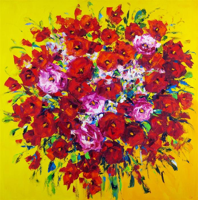 Original art for sale at UGallery.com | Flower Extravaganza by Iryna Kastsova | $2,450 | oil painting | 39' h x 39' w | ..\art\oil-painting-Flower-Extravaganza