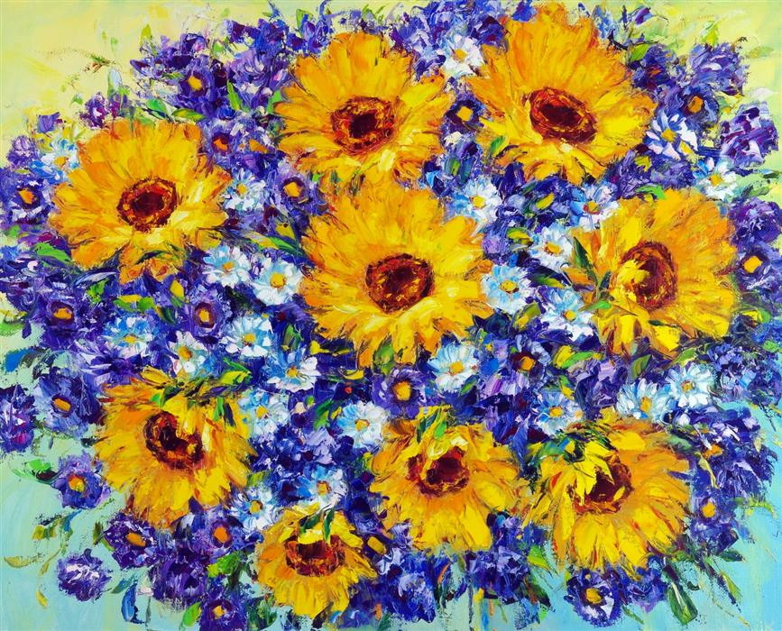 Original art for sale at UGallery.com | Sunflowers by Iryna Kastsova | $2,350 | oil painting | 32' h x 39' w | ..\art\oil-painting-Sunflowers-66420