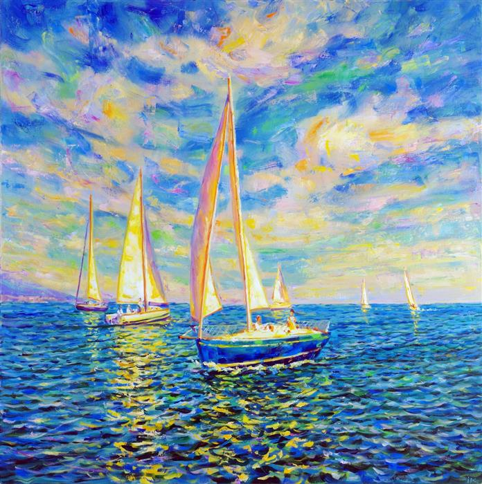 Original art for sale at UGallery.com | Regatta by Iryna Kastsova | $2,450 | oil painting | 39' h x 39' w | ..\art\oil-painting-Regatta-66422