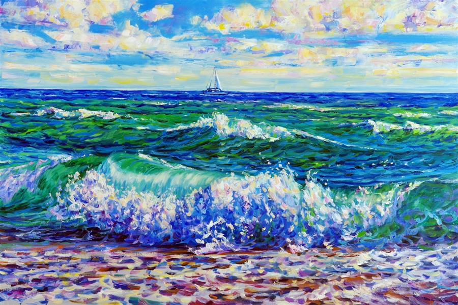 Original art for sale at UGallery.com | Sea. The Wave. Yacht. by Iryna Kastsova | $1,750 | oil painting | 24' h x 36' w | ..\art\oil-painting-Sea-The-Wave-Yacht
