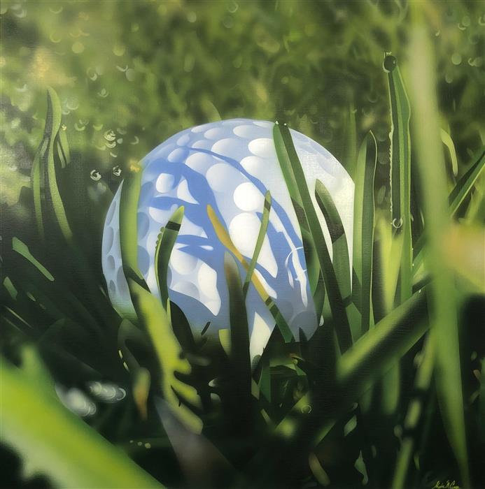 Original art for sale at UGallery.com | Hiding Golf Ball by Stephen Capogna | $1,700 | acrylic painting | 30' h x 30' w | ..\art\acrylic-painting-Hiding-Golf-Ball