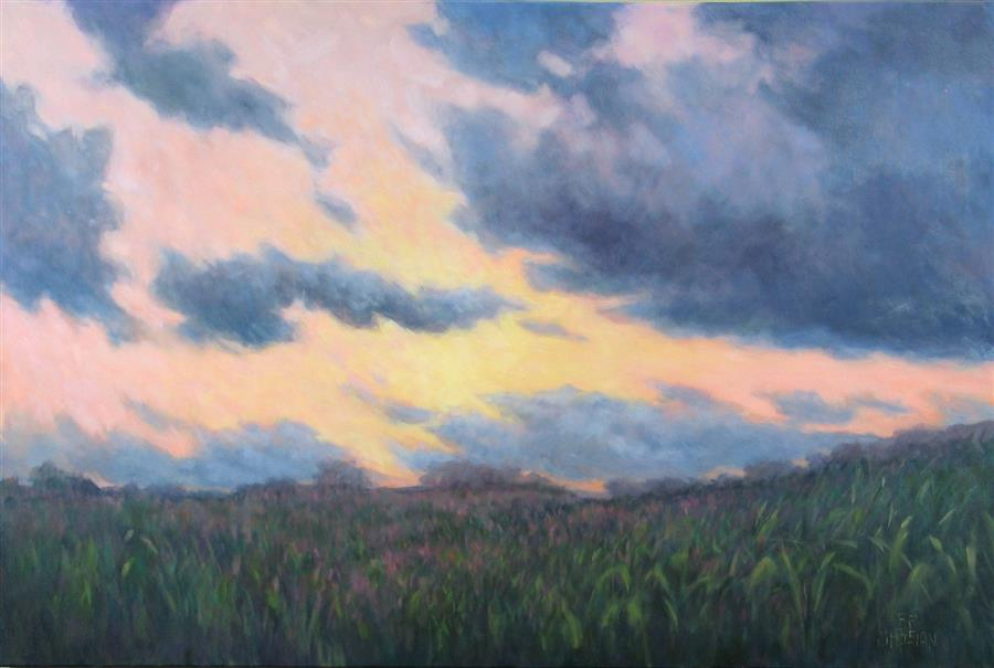 Original art for sale at UGallery.com | Twilight Time Remembered by Suzanne Massion | $1,300 | oil painting | 24' h x 36' w | ..\art\oil-painting-Twilight-Time-Remembered