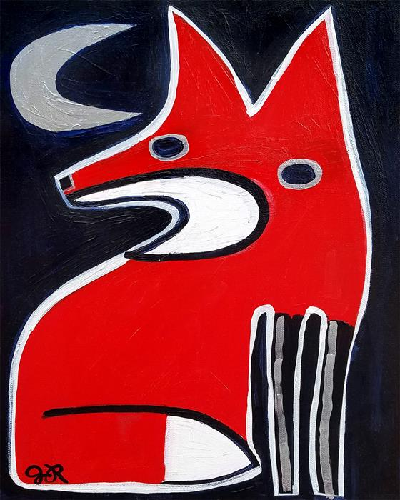 Original art for sale at UGallery.com | Fox and Moon by Jessica JH Roller | $400 | acrylic painting | 20' h x 16' w | ..\art\acrylic-painting-Fox-and-Moon