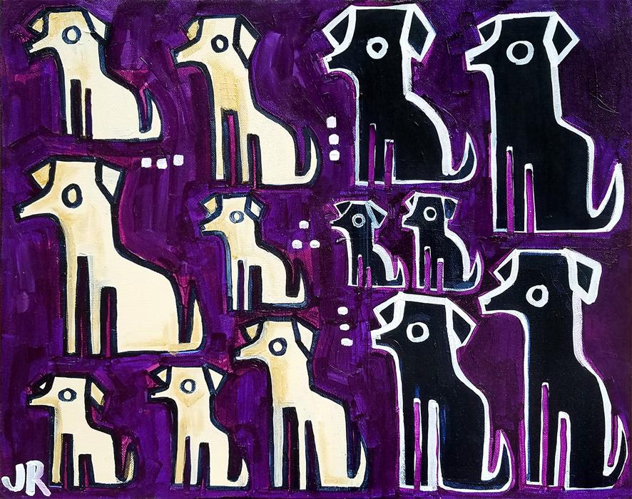 Original art for sale at UGallery.com | Dogs on Purple by Jessica JH Roller | $400 | acrylic painting | 16' h x 20' w | ..\art\acrylic-painting-Dogs-on-Purple
