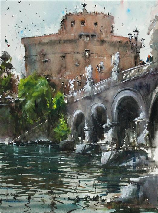Original art for sale at UGallery.com | Castello Dell'Angelo by Maximilian Damico | $700 | watercolor painting | 15' h x 11' w | ..\art\watercolor-painting-Castello-Dell-Angelo