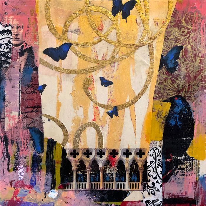 Original art for sale at UGallery.com | Time Flew in Venice by Darlene McElroy | $575 | mixed media artwork | 12' h x 12' w | ..\art\mixed-media-artwork-Time-Flew-in-Venice