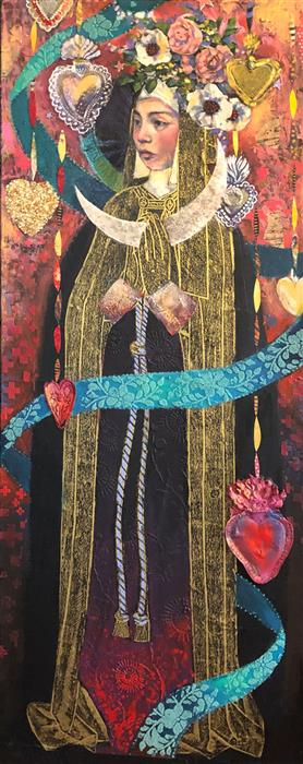 Original art for sale at UGallery.com | La Monja Coronada by Darlene McElroy | $3,100 | mixed media artwork | 40' h x 16' w | ..\art\mixed-media-artwork-La-Mona-Coronada