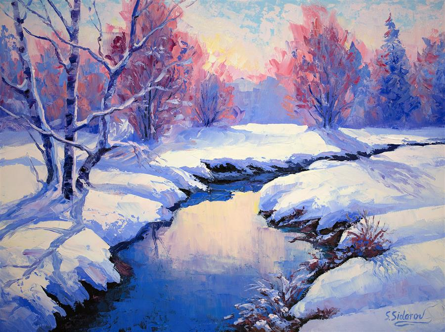 Original art for sale at UGallery.com | Winter Landscape by Stanislav Sidorov | $950 | oil painting | 18' h x 24' w | ..\art\oil-painting-Winter-Landscape