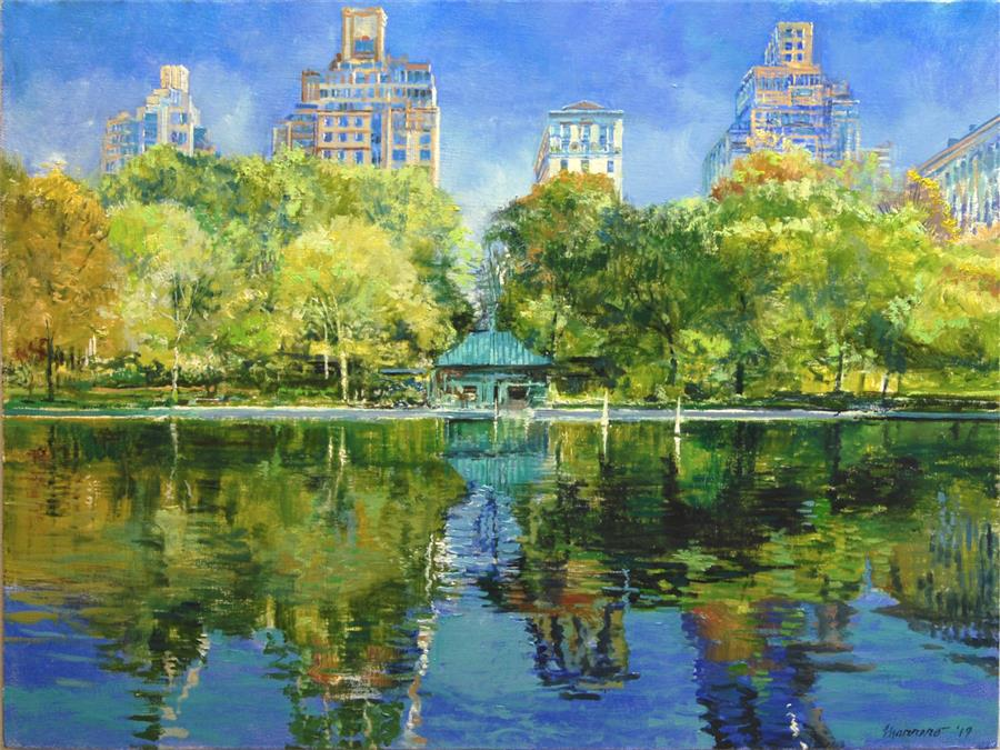 Original art for sale at UGallery.com | October at Conservatory Pond by Onelio Marrero | $1,025 | oil painting | 18' h x 24' w | ..\art\oil-painting-October-at-Conservatory-Pond