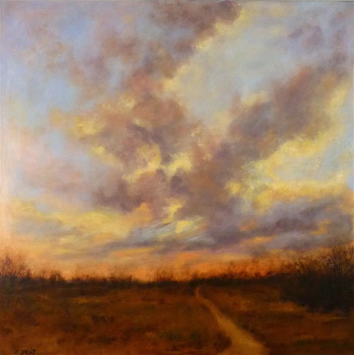 Original art for sale at UGallery.com | Delta Days End by Elizabeth Garat | $2,400 | oil painting | 36' h x 36' w | ..\art\oil-painting-Delta-Days-End