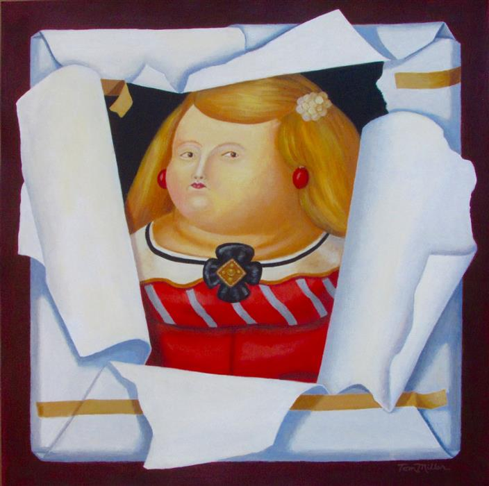 Original art for sale at UGallery.com | Botero's Princess by Tom Miller | $600 | acrylic painting | 18' h x 18' w | ..\art\acrylic-painting-Botero-s-Princess