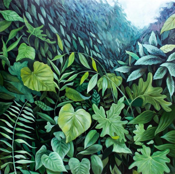 Original art for sale at UGallery.com | Botanika I by Agnieszka Potrzebnicka | $1,350 | oil painting | 26' h x 26' w | ..\art\oil-painting-Botanika-I