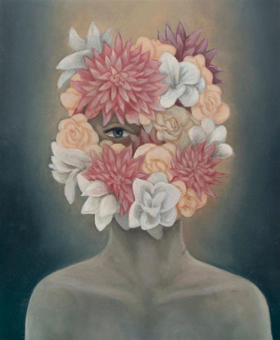 Original art for sale at UGallery.com | Dahlia by Agnieszka Potrzebnicka | $500 | oil painting | 9' h x 7' w | ..\art\oil-painting-Dahlia