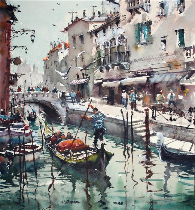 Original art for sale at UGallery.com | Fluid Venice by Maximilian Damico | $750 | watercolor painting | 14' h x 13' w | ..\art\watercolor-painting-Fluid-Venice