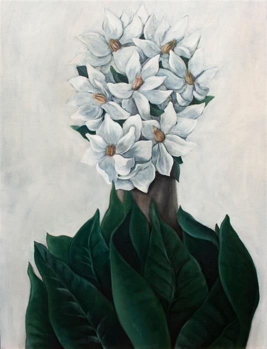 Original art for sale at UGallery.com | Magnolia by Agnieszka Potrzebnicka | $1,100 | oil painting | 26' h x 20' w | ..\art\oil-painting-Magnolia-66491